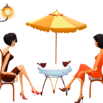 カフェで会話を楽しむ女性